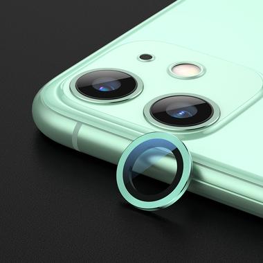 Сапфировое защитное стекло на камеру iPhone 11, зеленая мет. рамка DR - 1шт., фото №2
