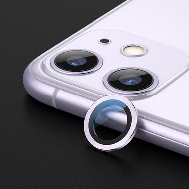 Сапфировое защитное стекло на камеру iPhone 11, фиолетовая мет. рамка DR - 1шт., фото №4