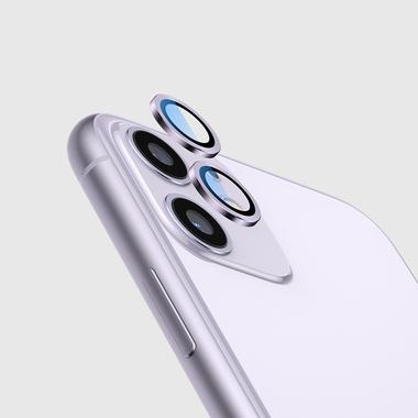 Сапфировое защитное стекло на камеру iPhone 11, фиолетовая мет. рамка DR - 1шт., фото №12
