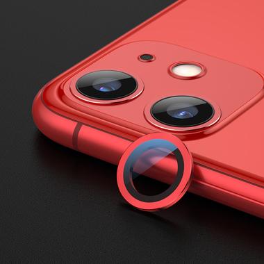 Сапфировое защитное стекло на камеру iPhone 11, красная мет. рамка DR - 1шт., фото №1