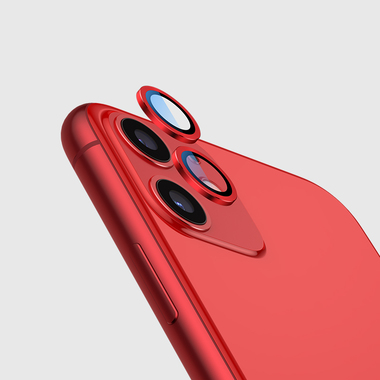 Сапфировое защитное стекло на камеру iPhone 11, красная мет. рамка DR - 1шт., фото №3