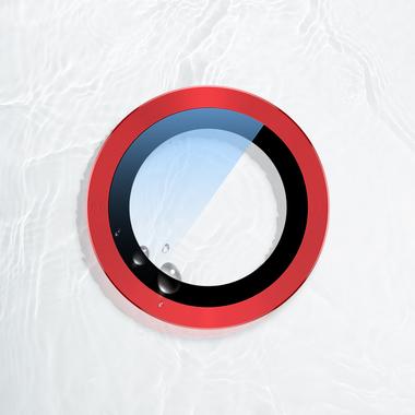 Сапфировое защитное стекло на камеру iPhone 11, красная мет. рамка DR - 1шт., фото №5