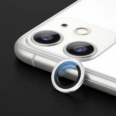 Сапфировое защитное стекло на камеру iPhone 11, белая мет. рамка DR - 1шт., фото №2