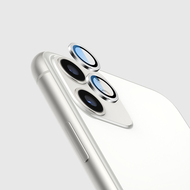 Сапфировое защитное стекло на камеру iPhone 11, белая мет. рамка DR - 1шт., фото №3