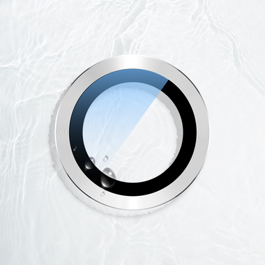 Сапфировое защитное стекло на камеру iPhone 11, белая мет. рамка DR - 1шт., фото №5