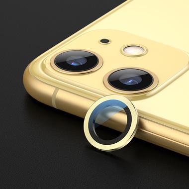 Сапфировое защитное стекло на камеру iPhone 11, желтая мет. рамка DR - 1шт., фото №1
