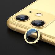 Сапфировое защитное стекло на камеру iPhone 11, желтая мет. рамка DR - 1шт. - фото 1