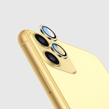 Сапфировое защитное стекло на камеру iPhone 11, желтая мет. рамка DR - 1шт., фото №7