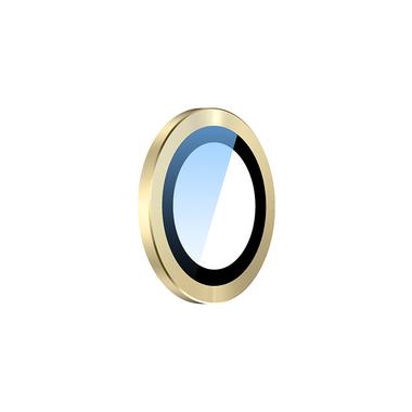 Сапфировое защитное стекло на камеру iPhone 11, желтая мет. рамка DR - 1шт., фото №8