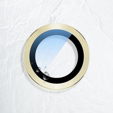 Сапфировое защитное стекло на камеру iPhone 11, желтая мет. рамка DR - 1шт., фото №9
