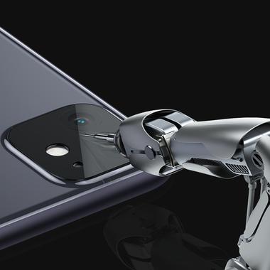 Защитная пленка на камеру iPhone 11, черная рамка KR - 2шт., фото №1