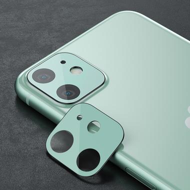 Сапфировое защитное стекло на камеру iPhone 11, фиолетовая мет. рамка DR - 1шт., фото №8