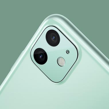 Сапфировое защитное стекло на камеру iPhone 11, фиолетовая мет. рамка DR - 1шт., фото №7