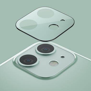Сапфировое защитное стекло на камеру iPhone 11, фиолетовая мет. рамка DR - 1шт., фото №6