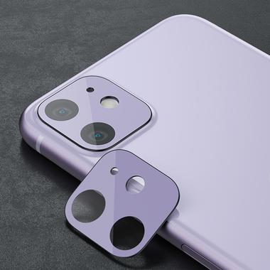 Защитное стекло на камеру iPhone 11, фиолетовая рамка KR - 2шт., фото №6
