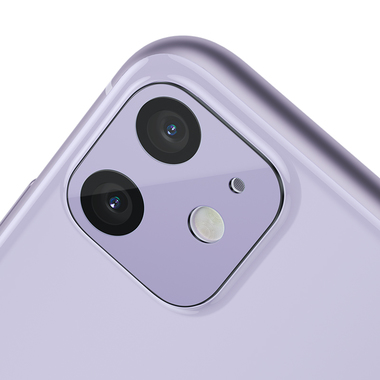 Защитное стекло на камеру iPhone 11, фиолетовая рамка KR - 2шт., фото №7