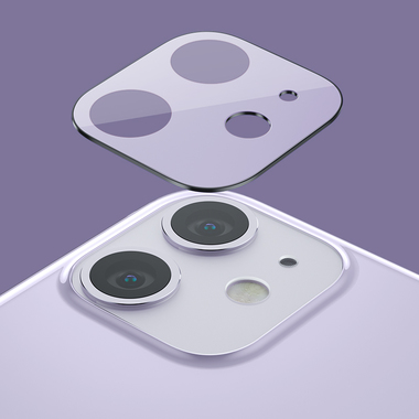 Защитное стекло на камеру iPhone 11, фиолетовая рамка KR - 2шт., фото №1