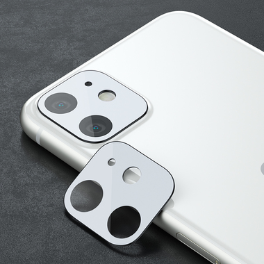 Защитное стекло на камеру iPhone 11, белая рамка KR - 2шт., фото №12