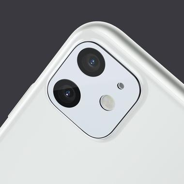 Защитное стекло на камеру iPhone 11, белая рамка KR - 2шт., фото №13