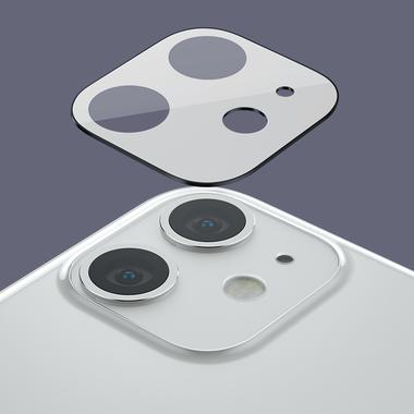 Защитное стекло на камеру iPhone 11, белая рамка KR - 2шт., фото №14