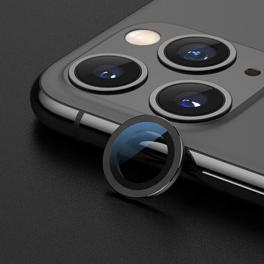 Сапфировое защитное стекло на камеру iPhone 11 Pro/11 Pro Max,  мет. рамка DR (Gray) - 1шт., фото №6