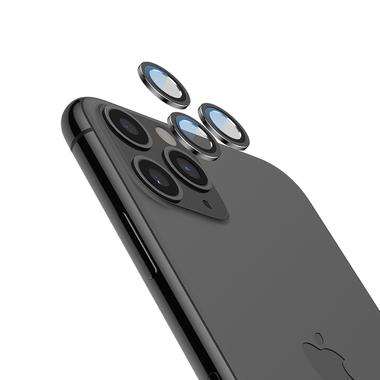 Сапфировое защитное стекло на камеру iPhone 11 Pro/11 Pro Max,  мет. рамка DR (Gray) - 1шт., фото №1