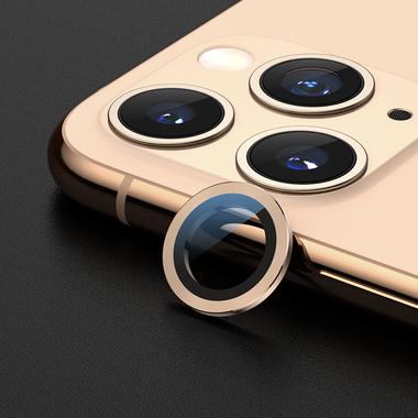 Сапфировое защитное стекло на камеру iPhone 11 Pro/11 Pro Max, мет. рамка DR (Gold) - 1шт., фото №4