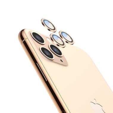 Сапфировое защитное стекло на камеру iPhone 11 Pro/11 Pro Max, мет. рамка DR (Gold) - 1шт., фото №5