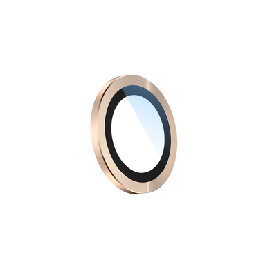 Сапфировое защитное стекло на камеру iPhone 11 Pro/11 Pro Max, мет. рамка DR (Gold) - 1шт., фото №1