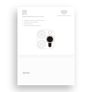 Сапфировое защитное стекло на камеру iPhone 11 Pro/11 Pro Max, мет. рамка DR (Gold) - 1шт., фото №8