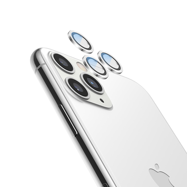 Сапфировое защитное стекло на камеру iPhone 11 Pro/11 Pro Max, мет. рамка DR (Silver) - 1шт., фото №9