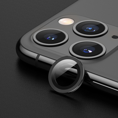 Защитное стекло на камеру iPhone 11 Pro/11 Pro Max, мет. рамка KR (Gray) - 1 шт., фото №1
