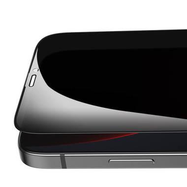 Приватное 3D защитное стекло на iPhone 12 Pro Max Vpro 0,3 мм черная рамка, фото №12