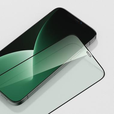 Защитное стекло iPhone 12 Pro Max 3D Vpro (green light) 0,3 мм черная рамка, фото №6