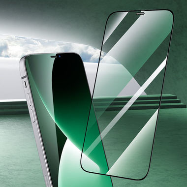 """Защитное стекло 3D на iPhone 12/12 Pro (6,1"""") Vpro (green light) 0,3 мм черная рамка, фото №1"""