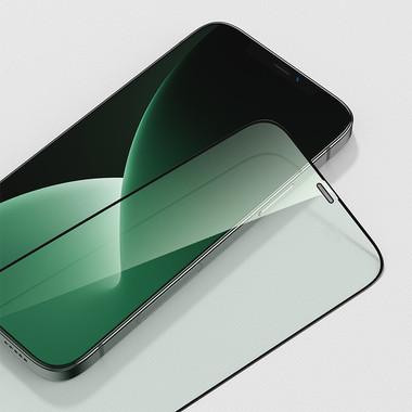 """Защитное стекло 3D на iPhone 12/12 Pro (6,1"""") Vpro (green light) 0,3 мм черная рамка, фото №10"""