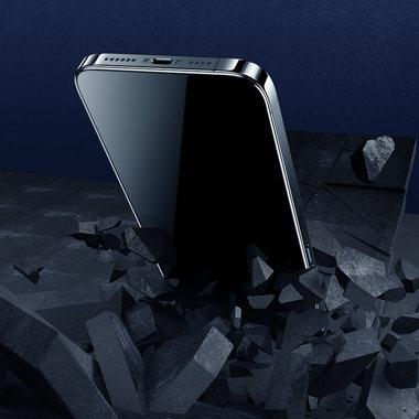 Матовое защитное стекло 3D на iPhone 13 Pro Max Vpro 0,3 мм черная рамка, фото №2