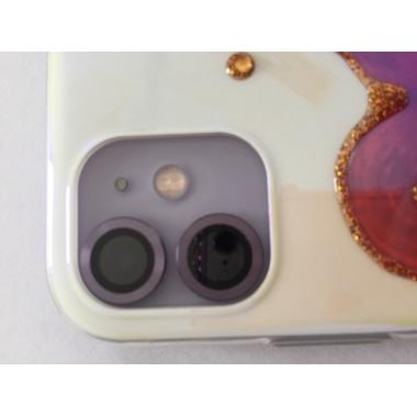 Защитное стекло на камеру iPhone 11, фиолетовая мет. рамка KR - 1шт., фото №3, добавлено пользователем