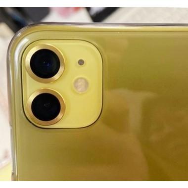 Сапфировое защитное стекло на камеру iPhone 11, желтая мет. рамка DR - 1шт., фото №3, добавлено пользователем