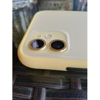 Сапфировое защитное стекло на камеру iPhone 11, желтая мет. рамка DR - 1шт., фото №5, добавлено пользователем