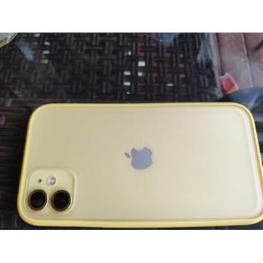Сапфировое защитное стекло на камеру iPhone 11, желтая мет. рамка DR - 1шт., фото №4, добавлено пользователем