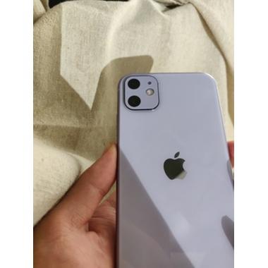 Защитное стекло на камеру iPhone 11, фиолетовая рамка KR - 2шт., фото №3, добавлено пользователем