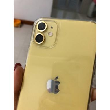 Сапфировое защитное стекло на камеру iPhone 11, желтая мет. рамка DR - 1шт., фото №2, добавлено пользователем