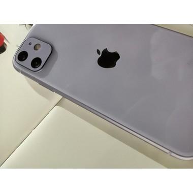 Защитное стекло на камеру iPhone 11, фиолетовая рамка KR - 2шт., фото №5, добавлено пользователем