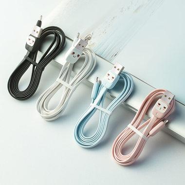 """Usams Lightning кабель - USB 2.0 - черный с """"рожицей"""", 1,2 м. (SJ231USB01), фото №1"""