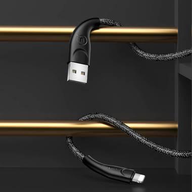 Usams Lightning кабель - USB 2.0 - черный в тканевой обмотке, 1м. (SJ391USB01), фото №2