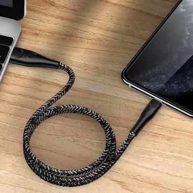 Usams Lightning кабель - USB 2.0 - черный в тканевой обмотке, 1м. (SJ391USB01), фото №3