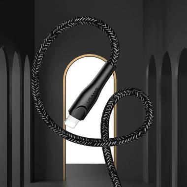 Usams Lightning кабель - USB 2.0 - черный в тканевой обмотке, 1м. (SJ391USB01), фото №5