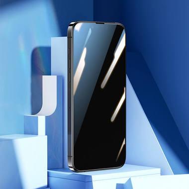 """Приватное (anti-spy) 3D защитное стекло на iPhone 13 Mini (5,4"""") Vpro 0,3 мм черная рамка, фото №1"""