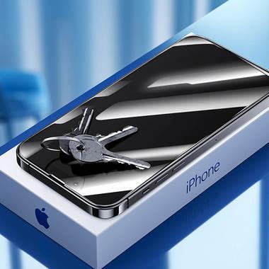 """Приватное (anti-spy) 3D защитное стекло на iPhone 13 Mini (5,4"""") Vpro 0,3 мм черная рамка, фото №3"""
